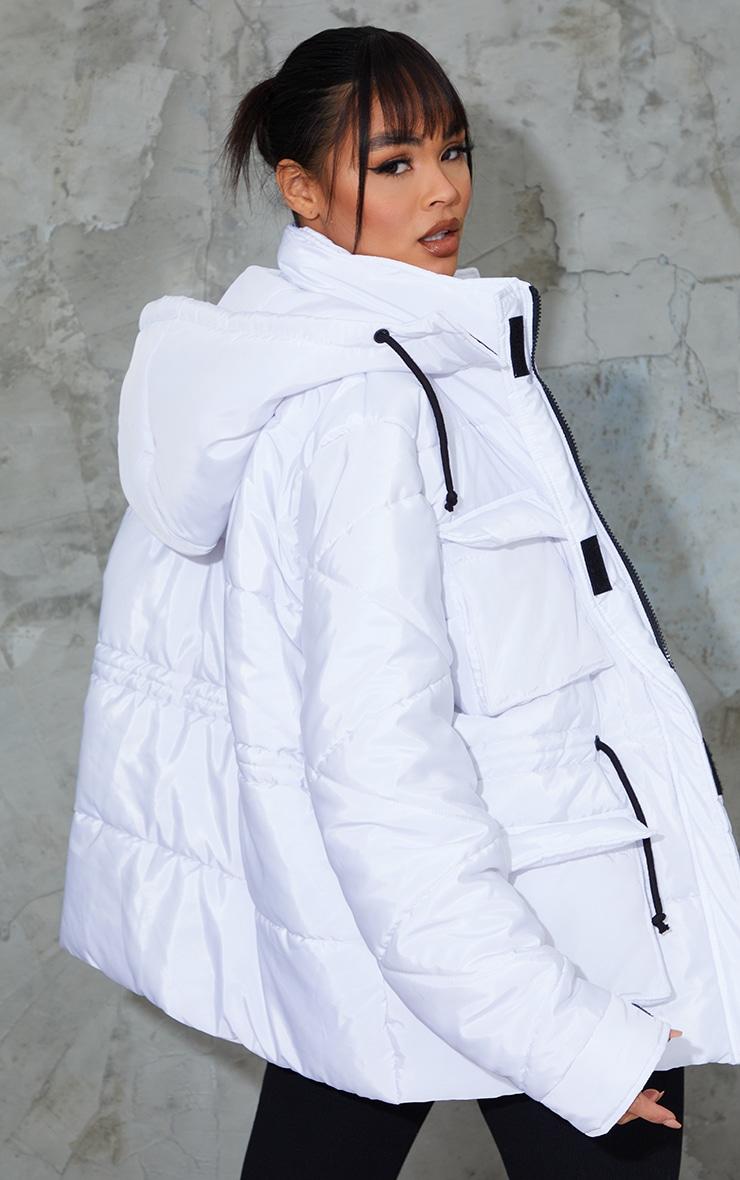 White Nylon Drawstring Pocket Front Puffer Jacket 2