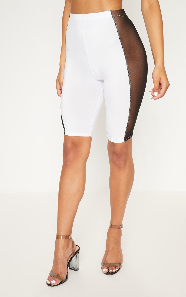 White Slinky Mesh Panel Cycle Short 2
