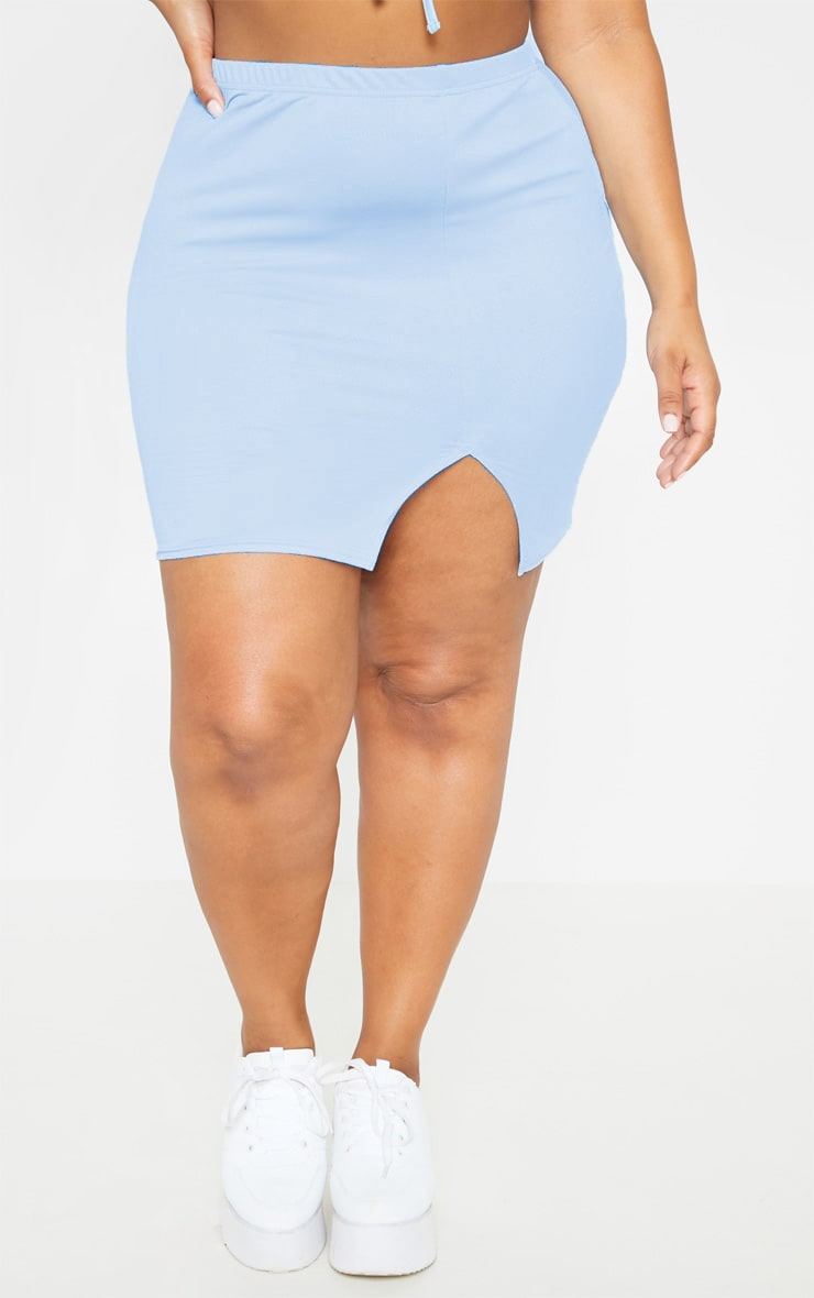 Plus Dusty Blue Split Detail Mini Skirt  2