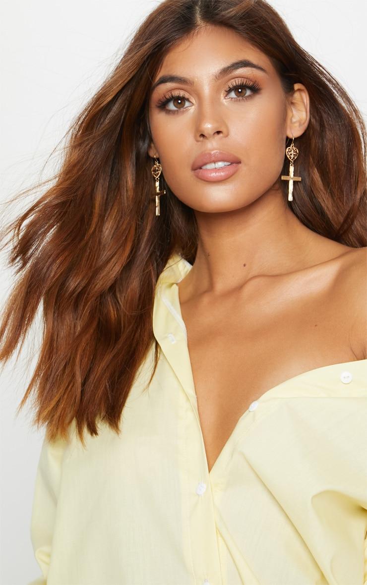 Gold Heart Cross Drop Earrings 1
