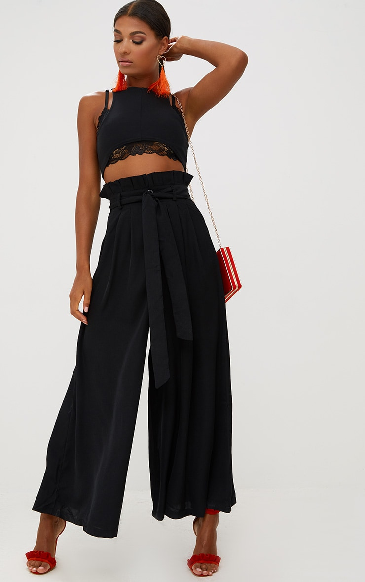 Black Wide Leg Paperbag Trousers 1