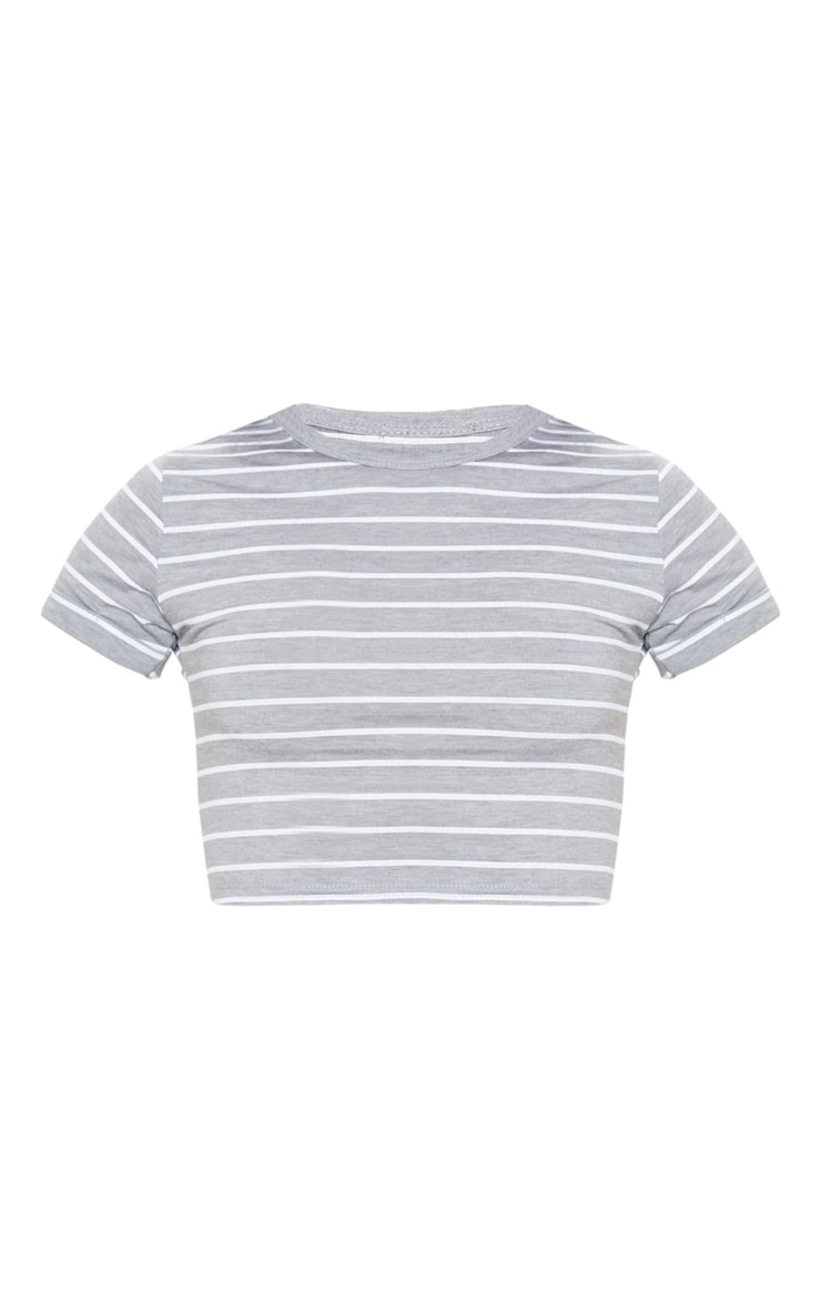 Basic Grey Stripe Fitted Crop T Shirt 3