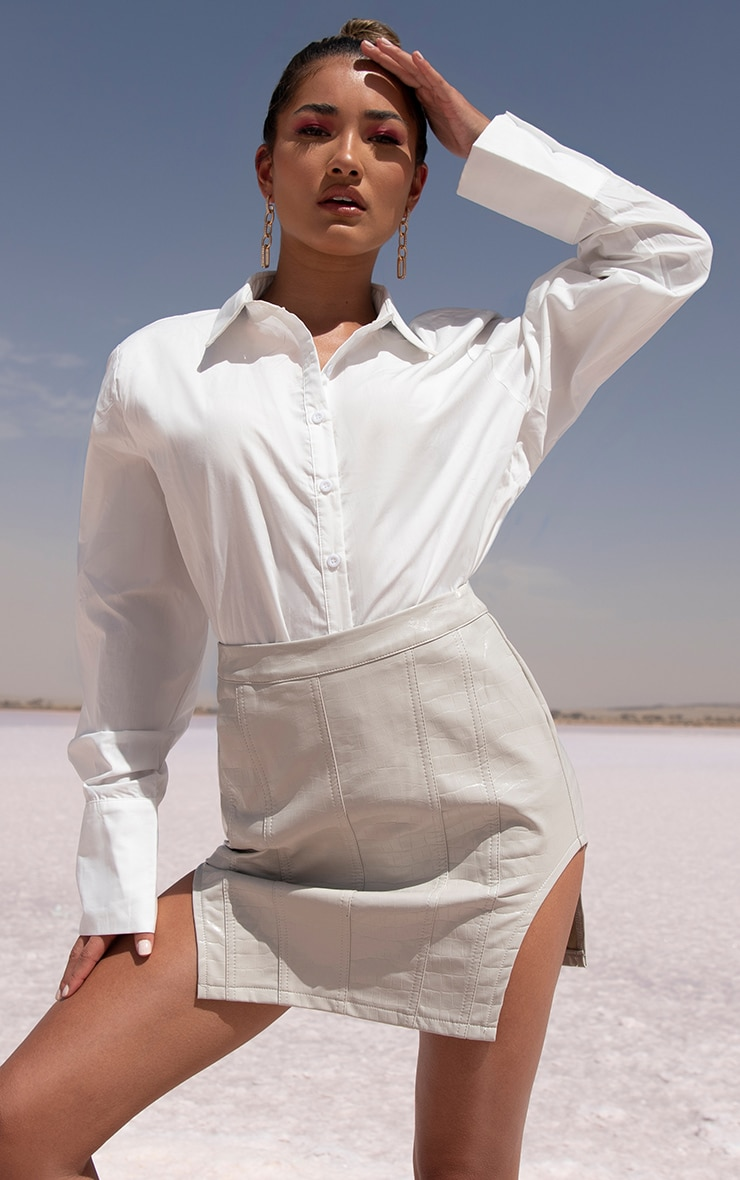 White Oversized Cuff Poplin Shirt 7