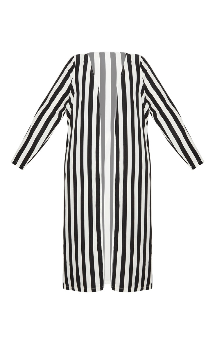 Plus Black Striped Longline Duster Jacket 3