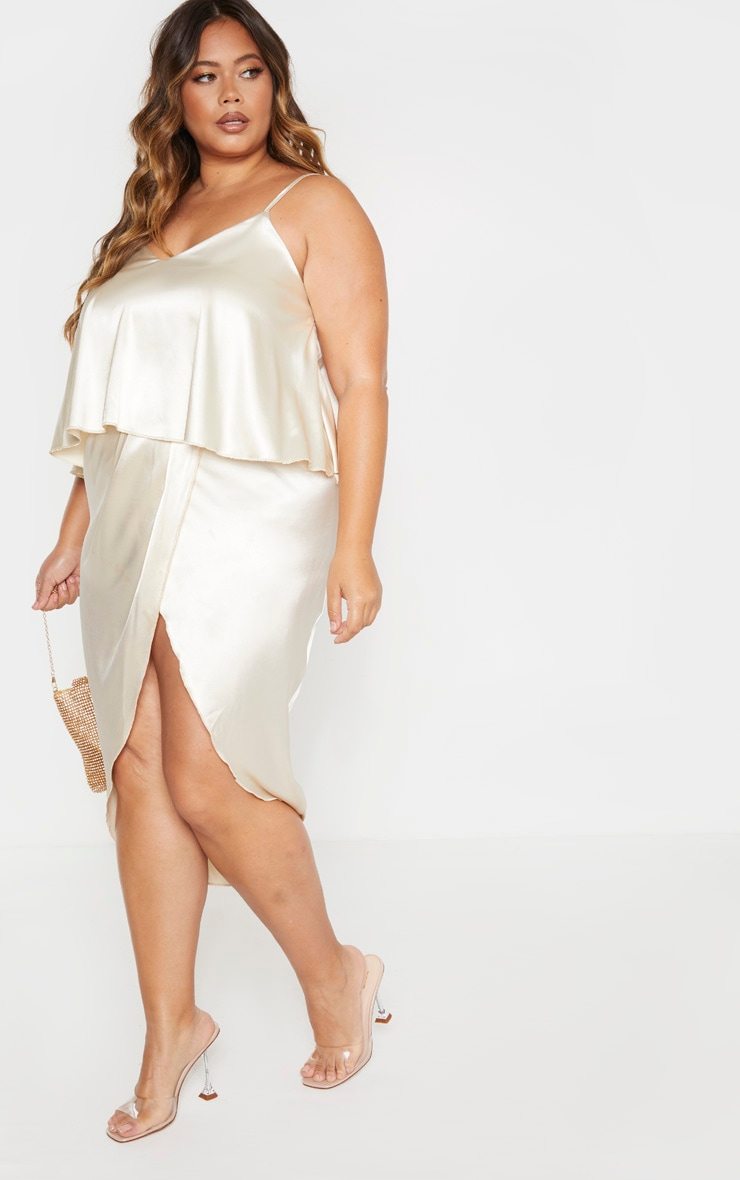 Plus Champagne Satin Frill Detail Midi Dress  4