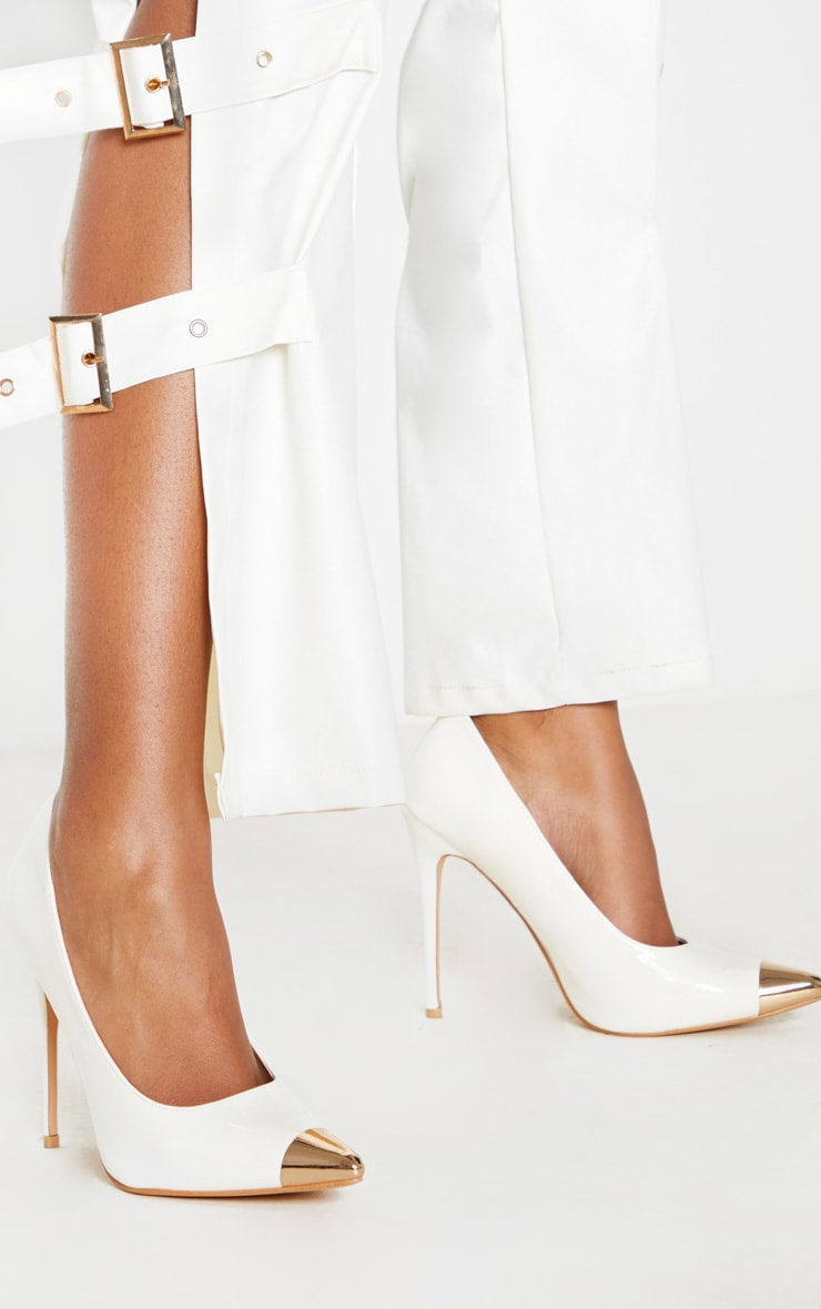 White Metal Toe Court Shoe 2