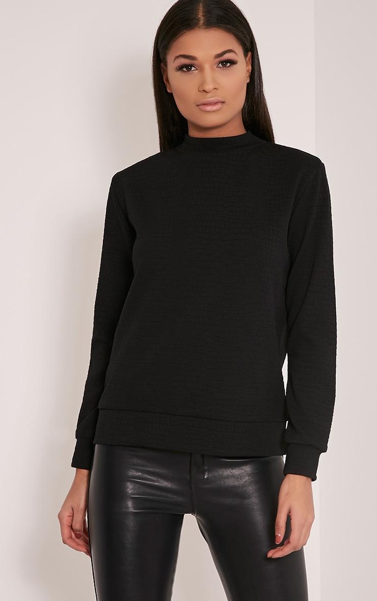 Mandy Black Snakeskin Effect Sweatshirt 1