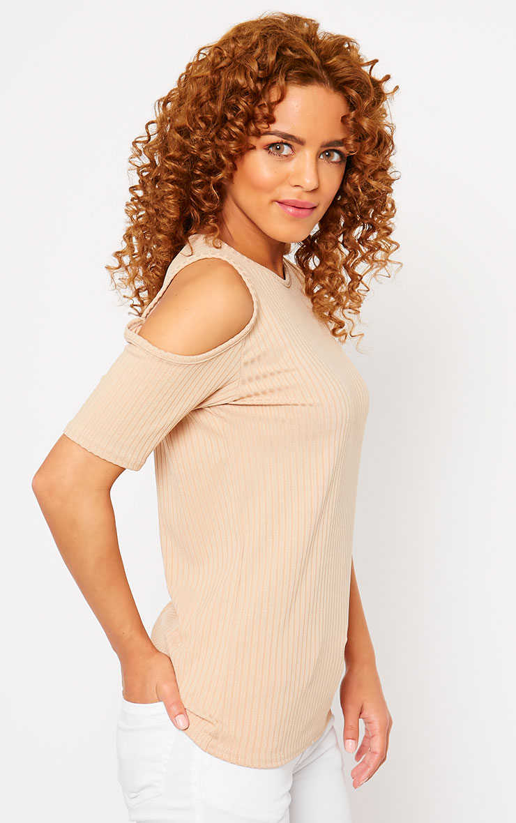 Basic Camel Cut Out Shoulder Tee 4