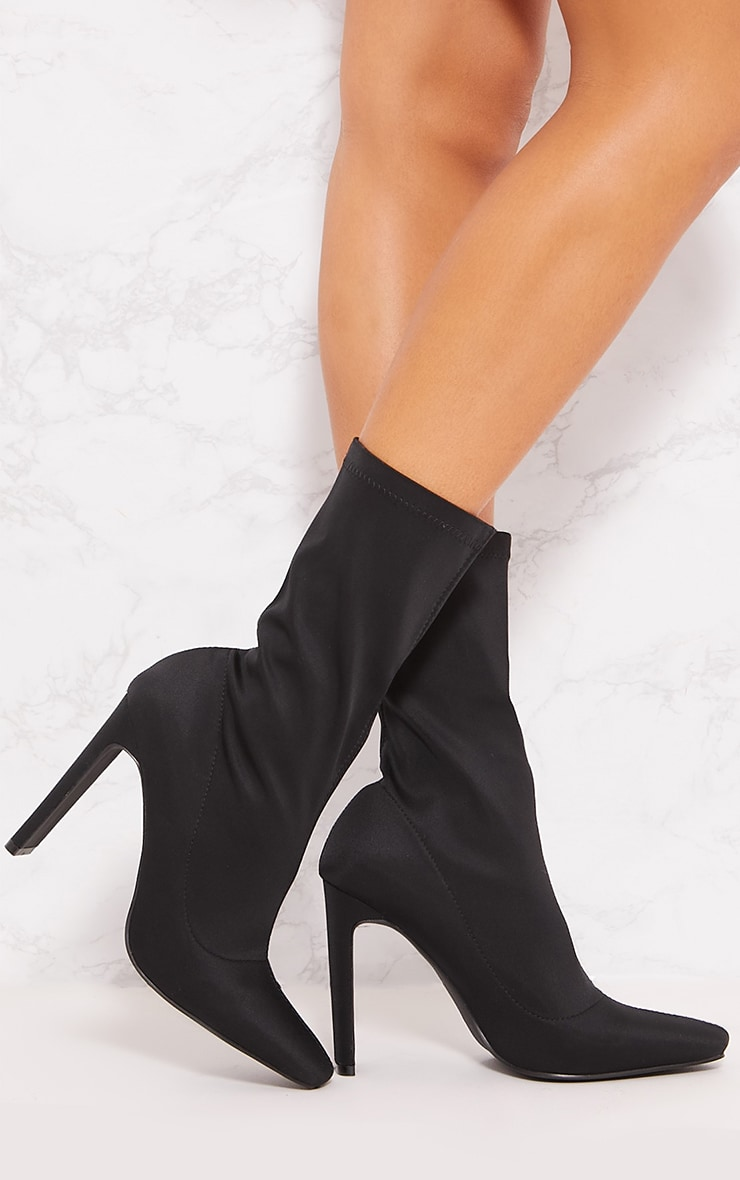 Black Lyrca Heeled Sock Boot 2