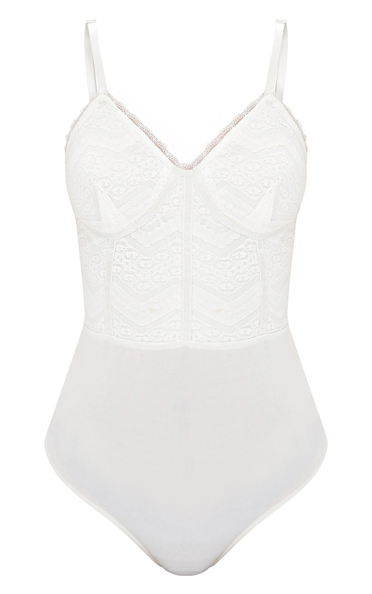 Archa White Lace Panelled Thong Bodysuit 3