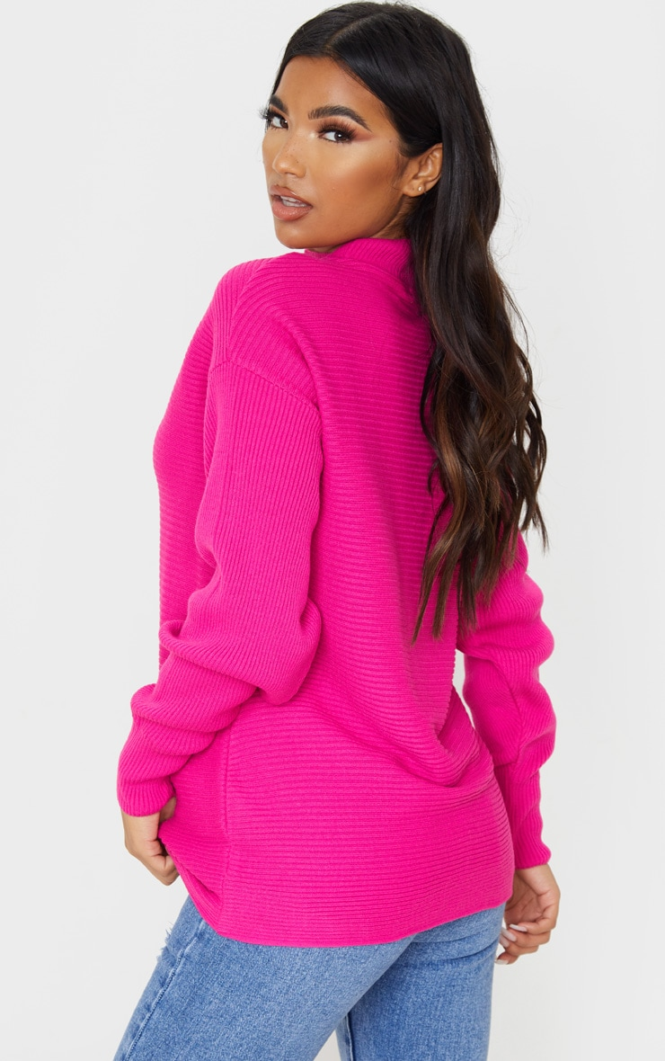 Hot Pink Full Sleeve Ribbed High Neck Jumper 2
