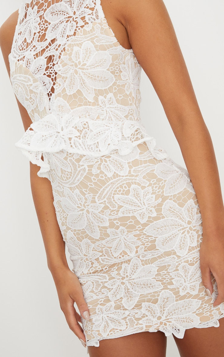 White Lace High Neck Frill Detail Bodycon Dress 5