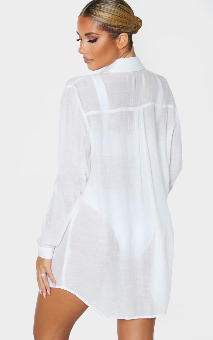 White Linen Look Oversized Beach Shirt 2