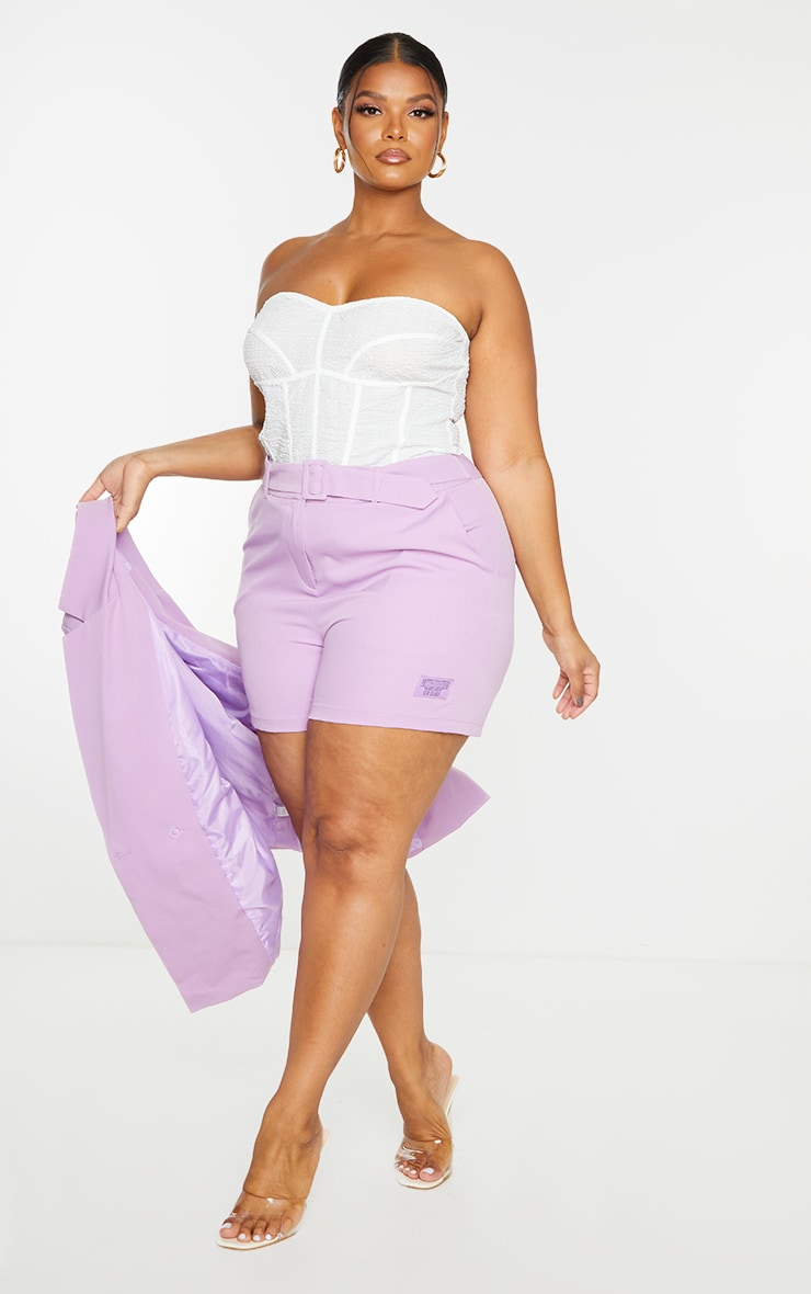 PRETTYLITTLETHING Plus Lilac Self Belt Tailored Shorts 1
