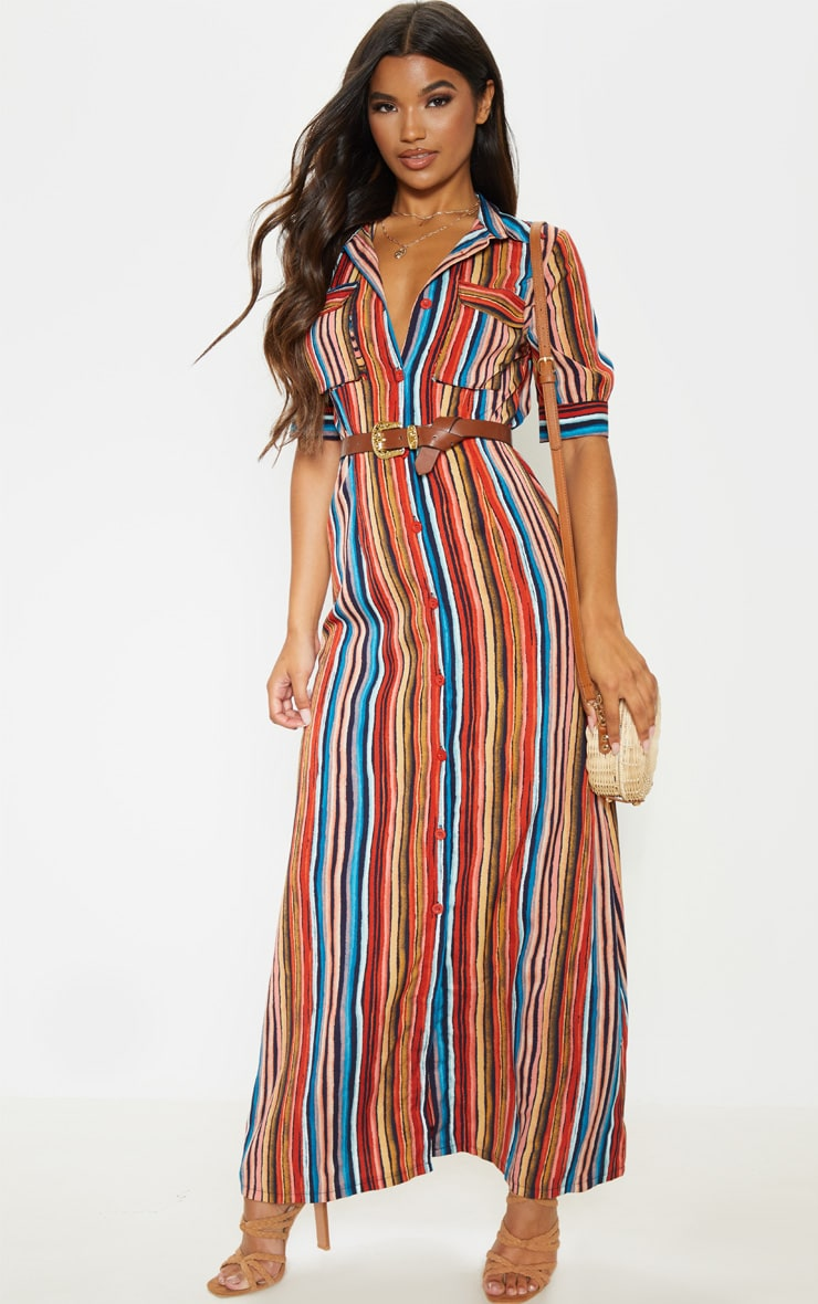 Multi Printed Stripe Short Sleeve Maxi Shirt Dress 1