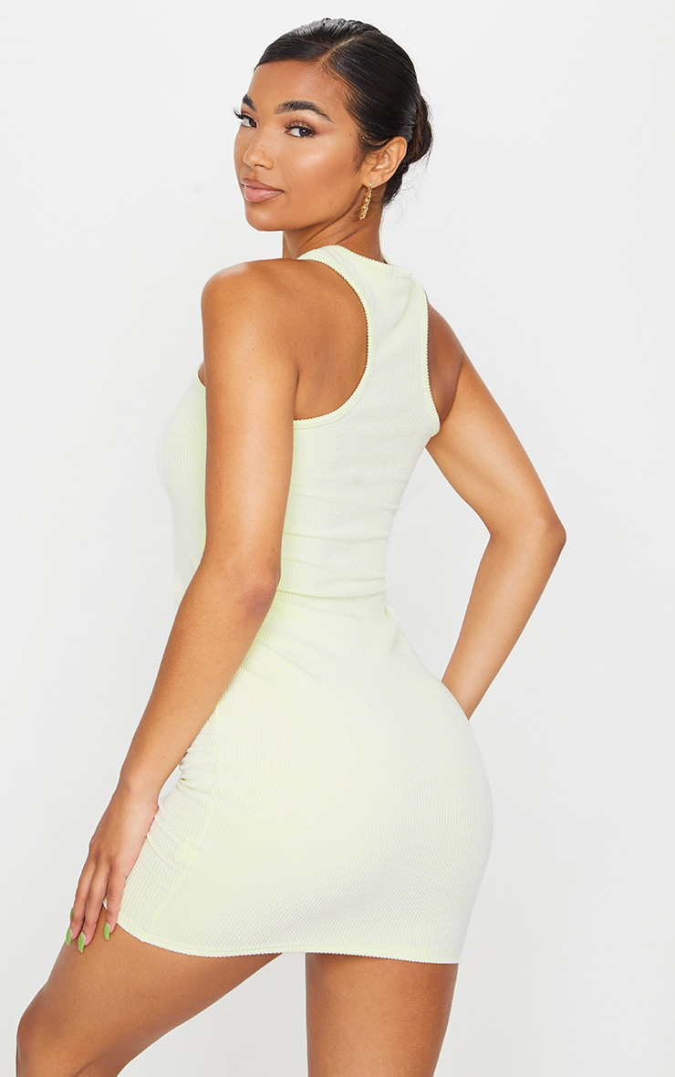 Lime Contrast Rib Racer Neck Bodycon Dress 2