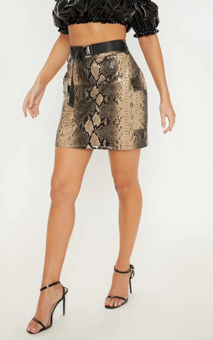 Brown Faux Leather Snakeskin Belted Mini Skirt 2