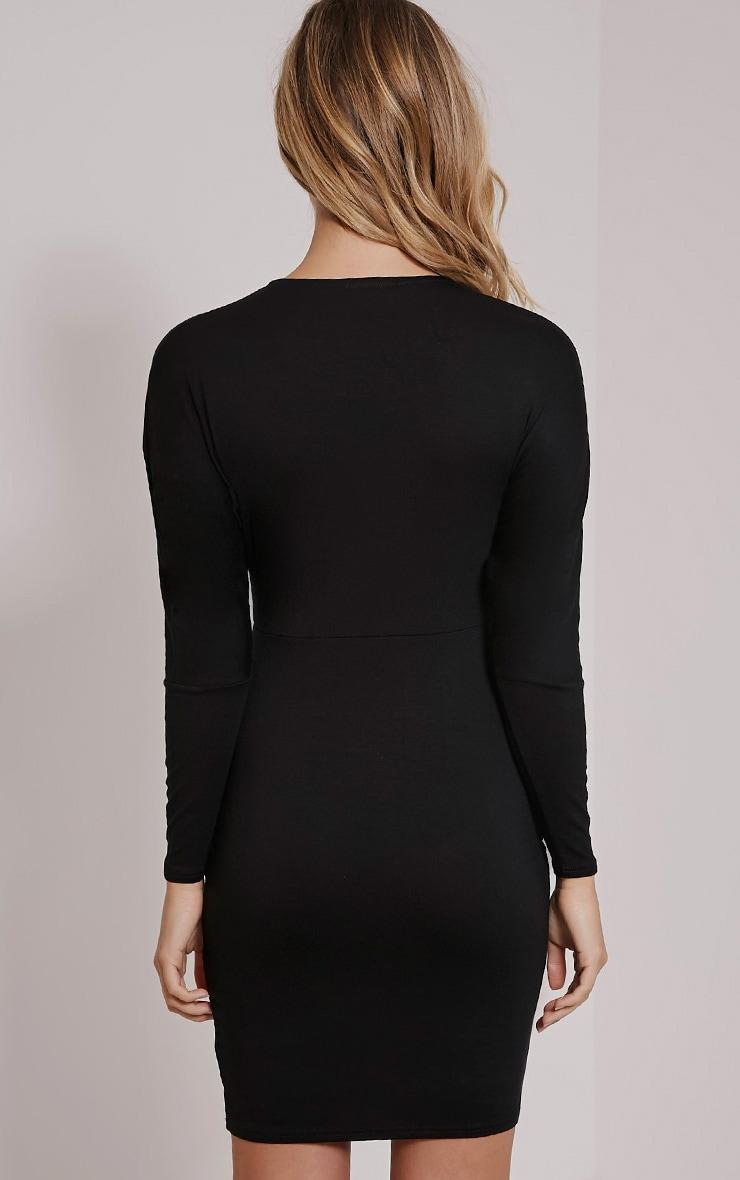 Honora Black Plunge Bodycon Dress 2