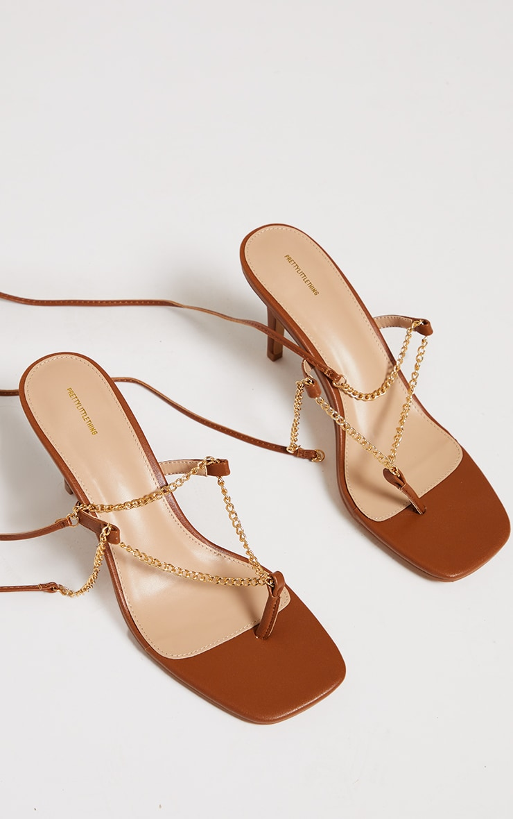 Chocolate Chain Toe Thong Lace Up Heeled Sandals 3