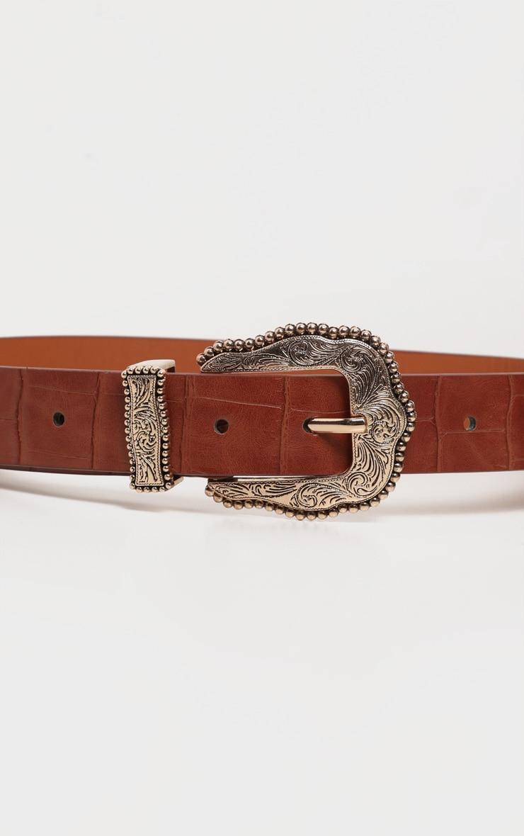 Tan Croc Vintage Gold Buckle Western Belt 2
