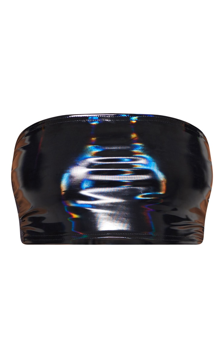 Black Hologram Contrast Panel Bandeau Crop Top 3