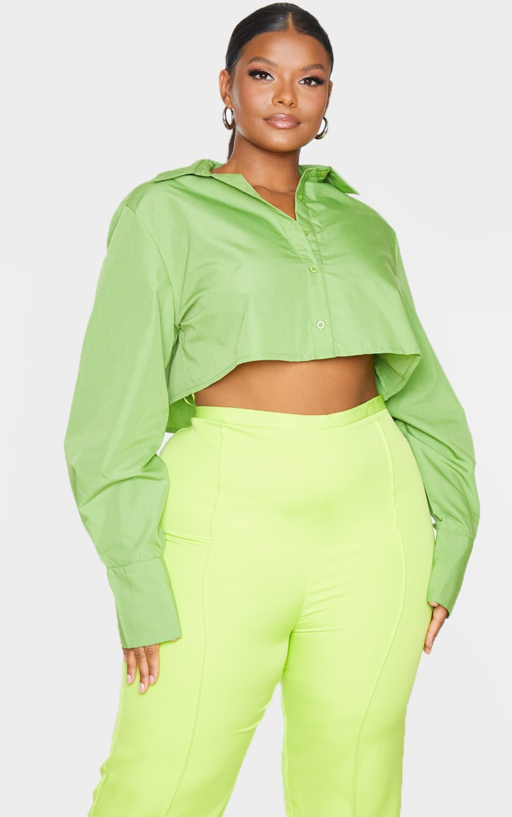 Plus Bright Green Cotton Oversized Crop Shirt 3