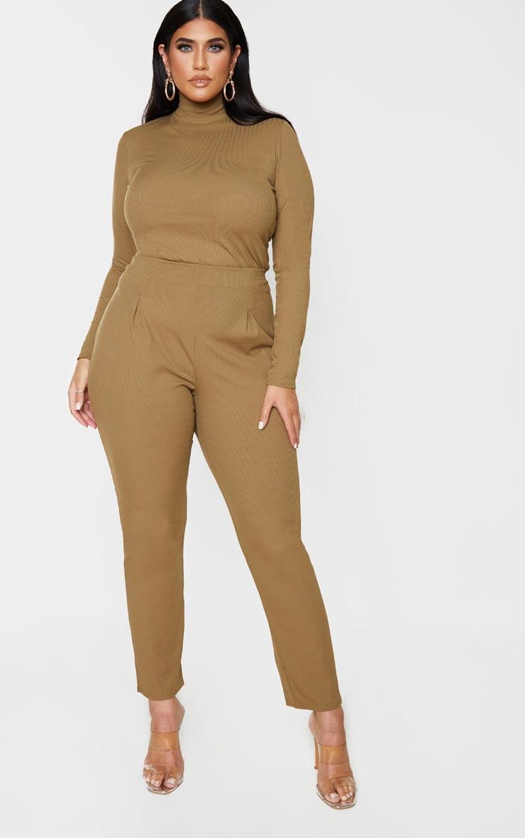 Plus Khaki Rib High Waist Skinny Trousers 1