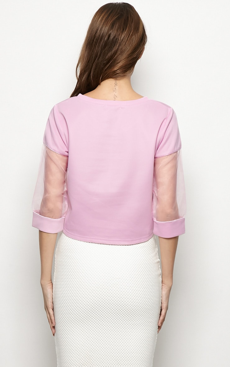 Rory Lilac Mesh Cropped Sweater  2