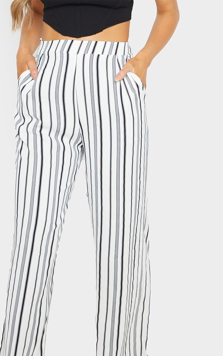 White Stripe Print Wide Leg Pants 5