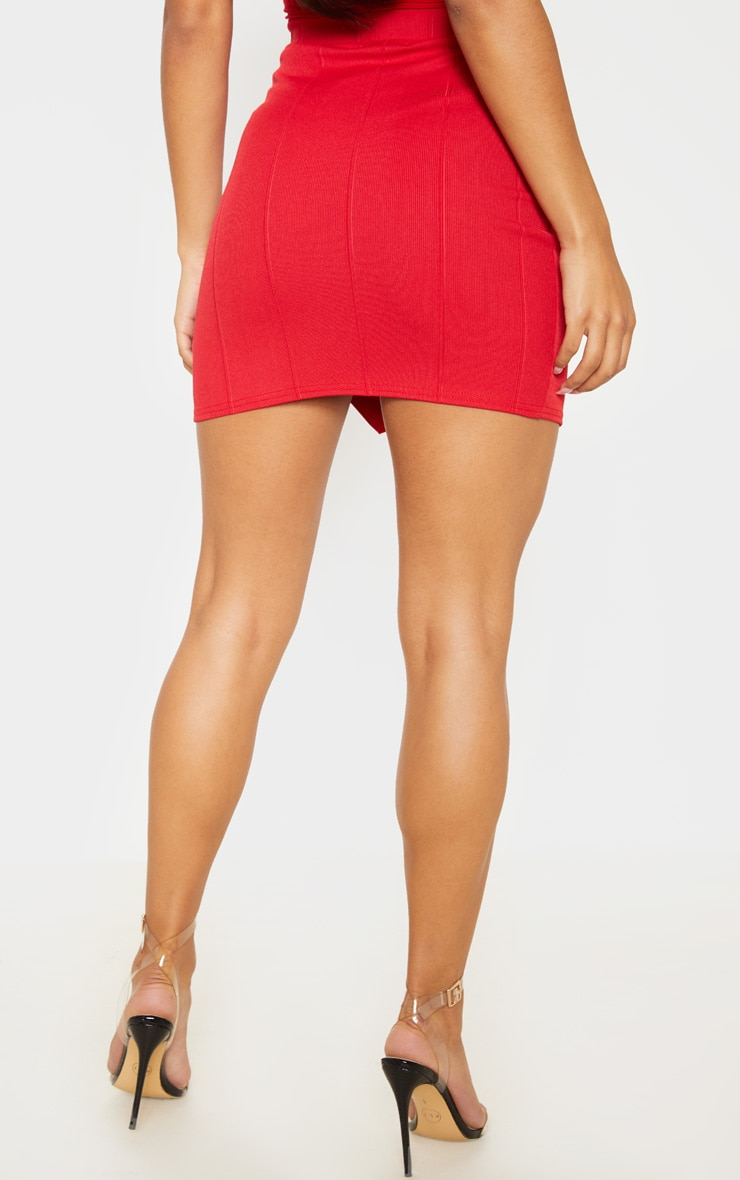 Red Bandage Wrap Front Button Detail Mini Skirt  4