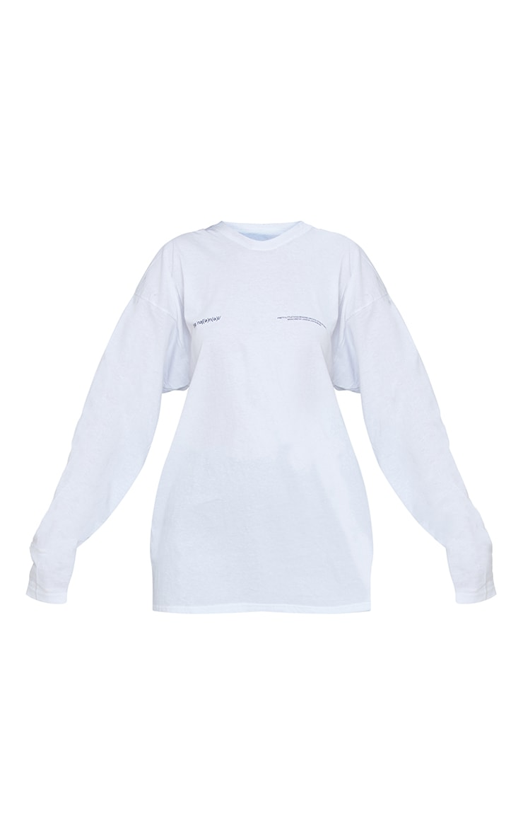 PRETTYLITTLETHING White International  Long Sleeve T Shirt 5