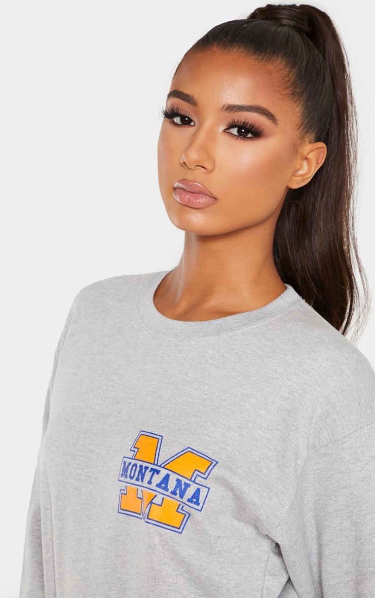 Grey Montana Slogan Sweater 5