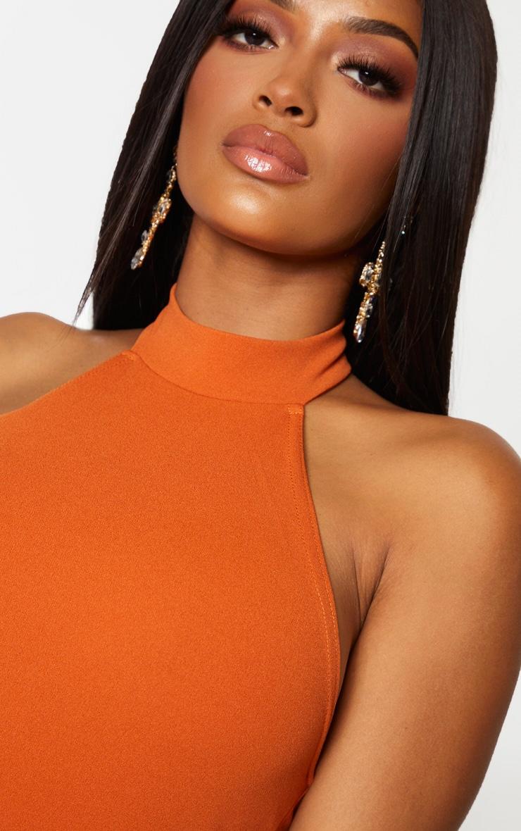 Shape Terracotta Crepe Halterneck Bodycon Dress 4