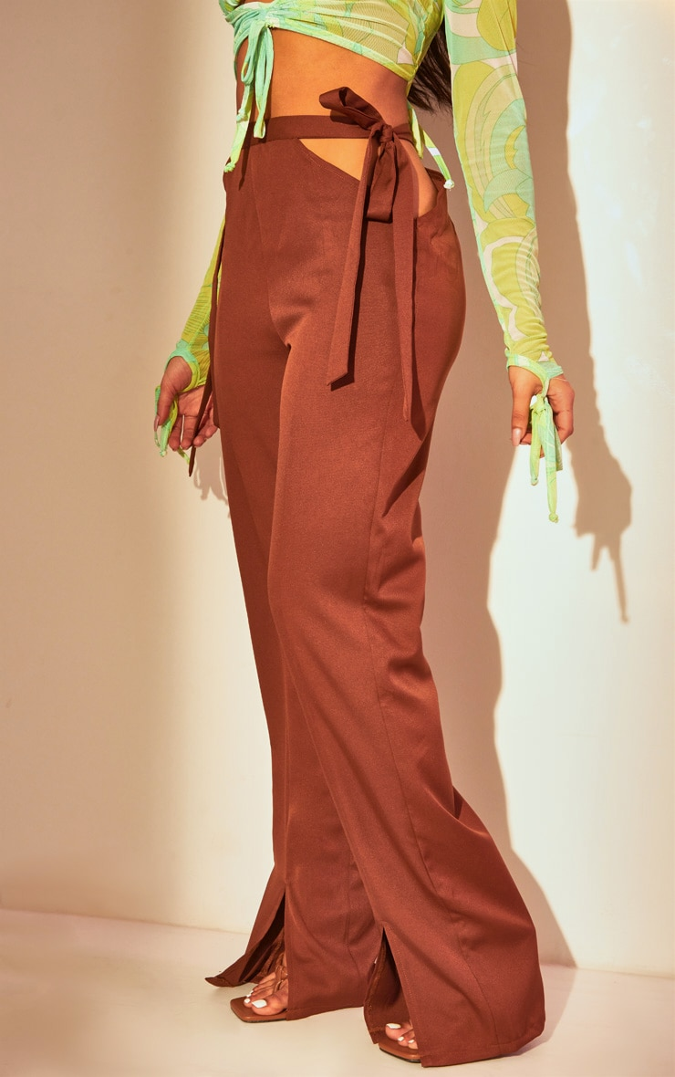 Chocolate Cut Out Waist Tailored Pants 2