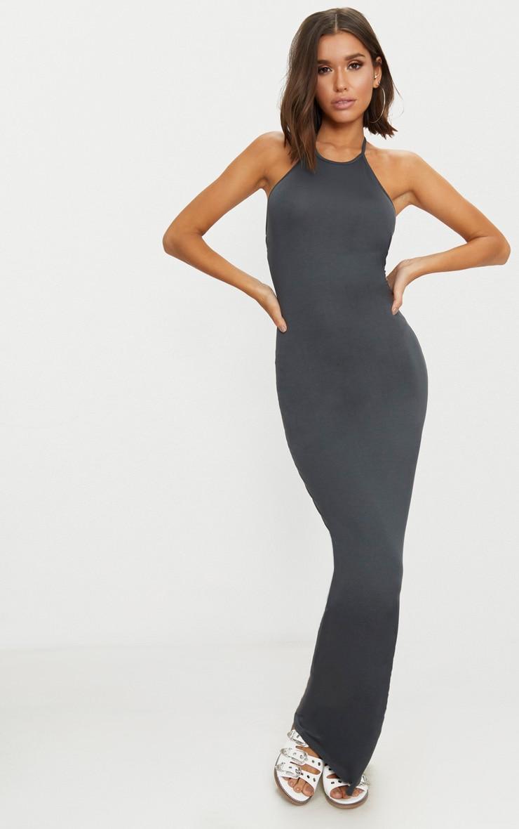 Charcoal Grey Basic Halterneck Maxi Dress 1