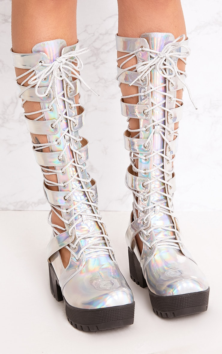 Josiana Silver Holographic Lace Up Biker Boots 5