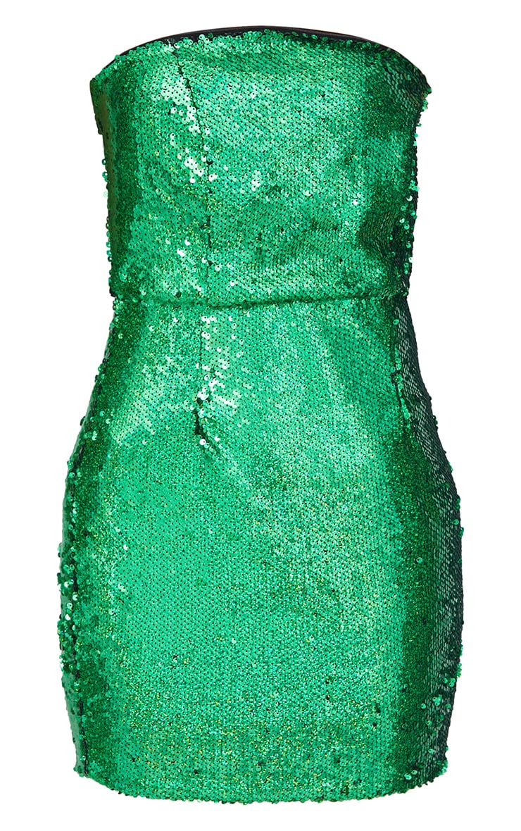Bright Green Bandeau Sequin Bodycon Dress 3