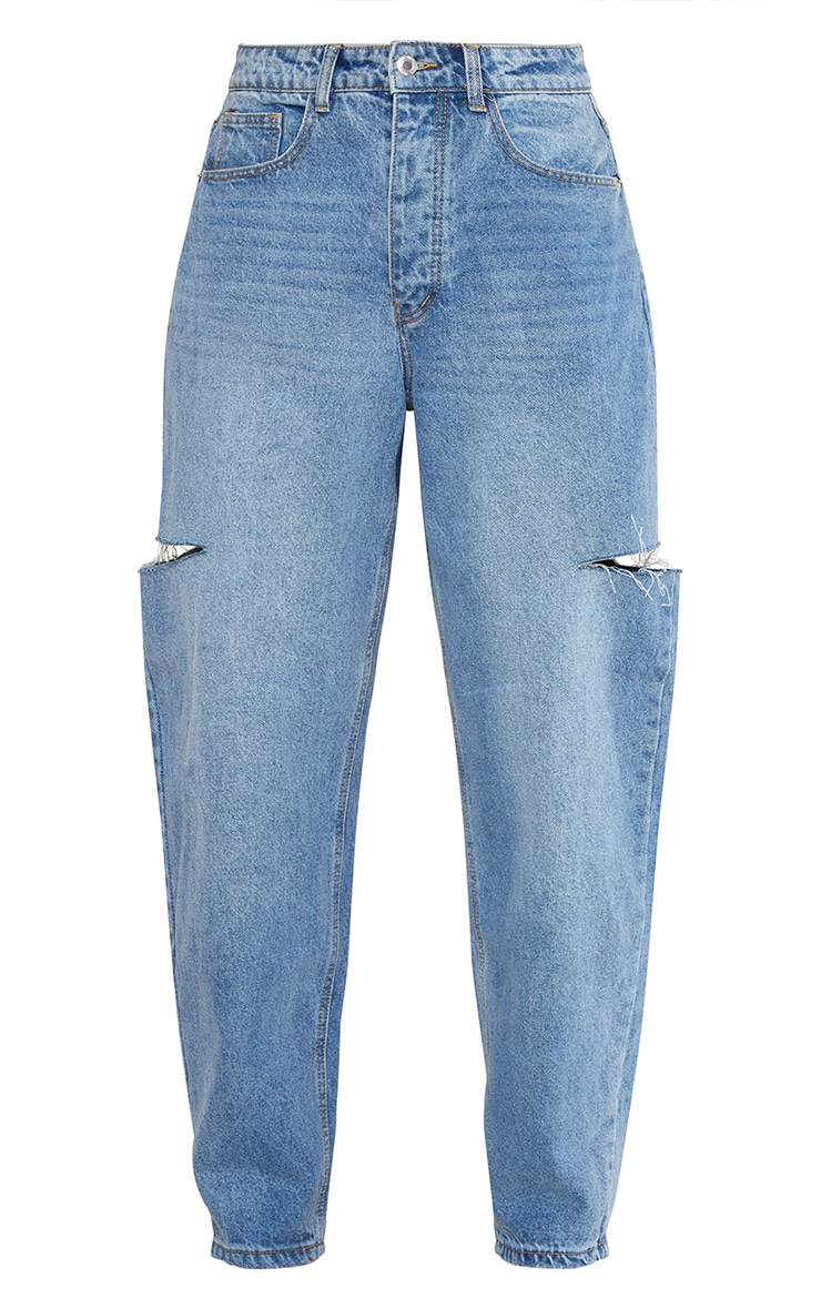 Mid Wash Thigh Split Baggy Boyfriend Jeans 5