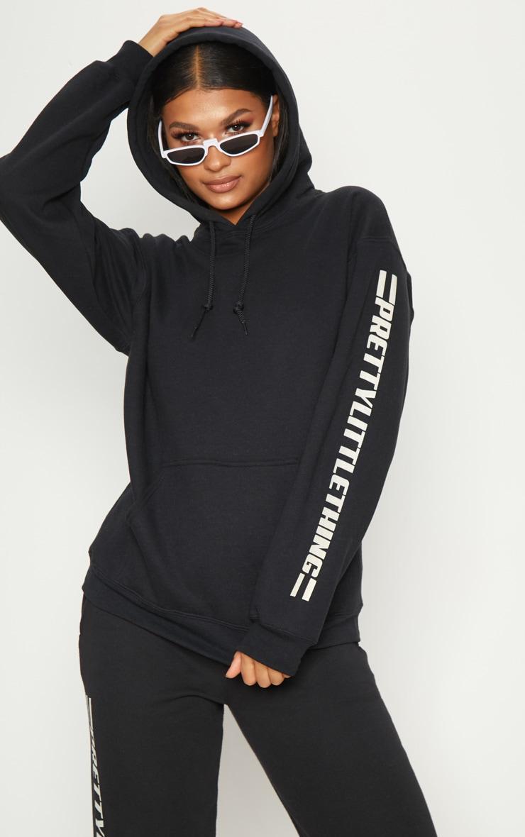 PRETTYLITTLETHING Black Logo Stripe Oversized Hoodie 4