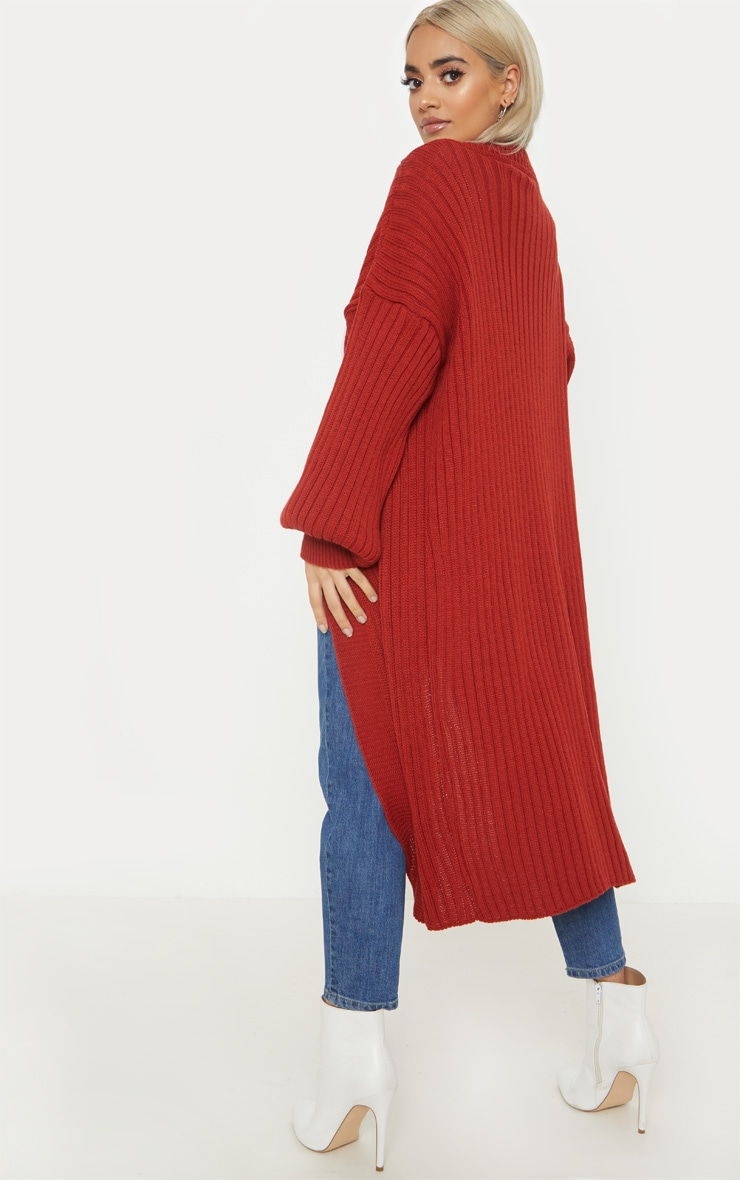 Petite Rust Ribbed Knitted Cardigan 2