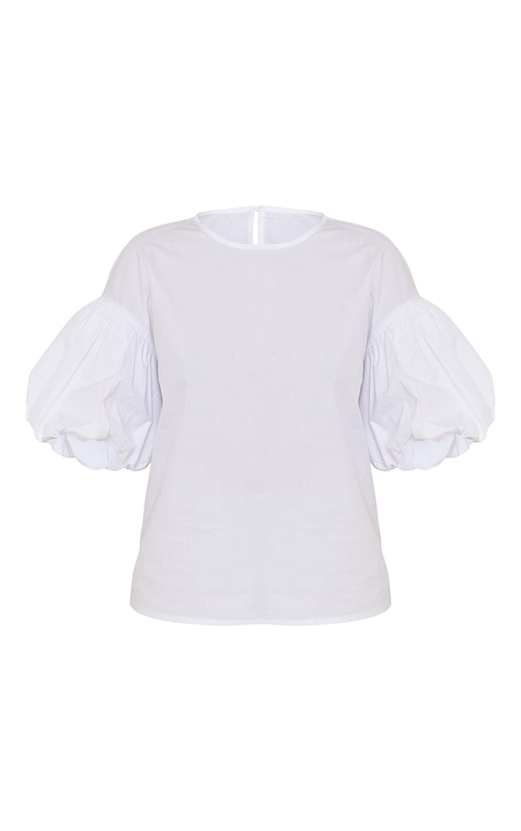 White Woven Puff Sleeve Top 5
