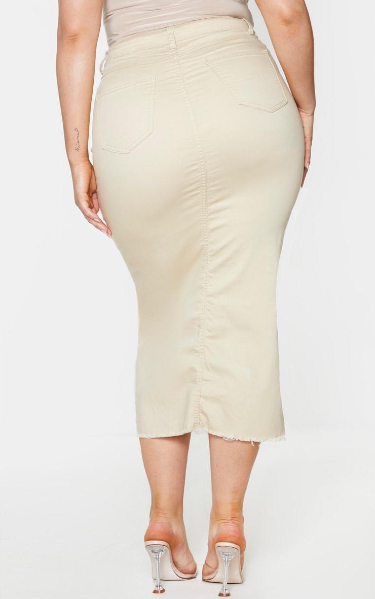 Plus Ecru Denim Split Hem Midaxi Skirt 3