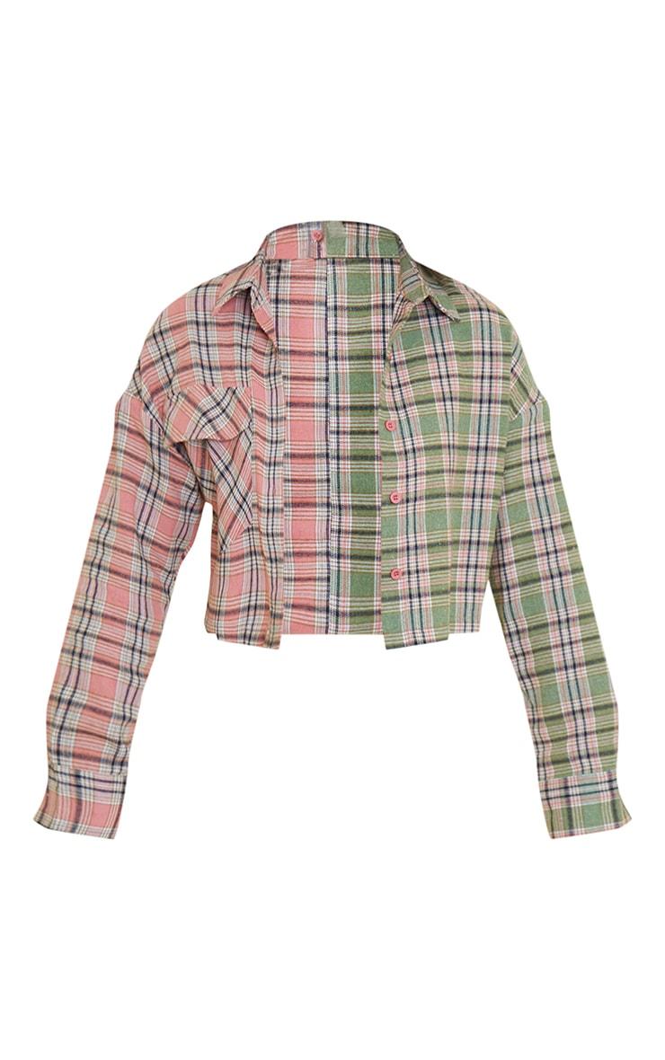 Pink Flannel Check Spliced Crop Shirt 5