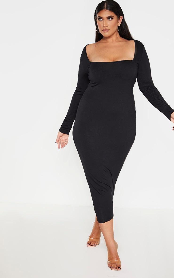 Plus Black Jersey Long Sleeve Midi Dress 1