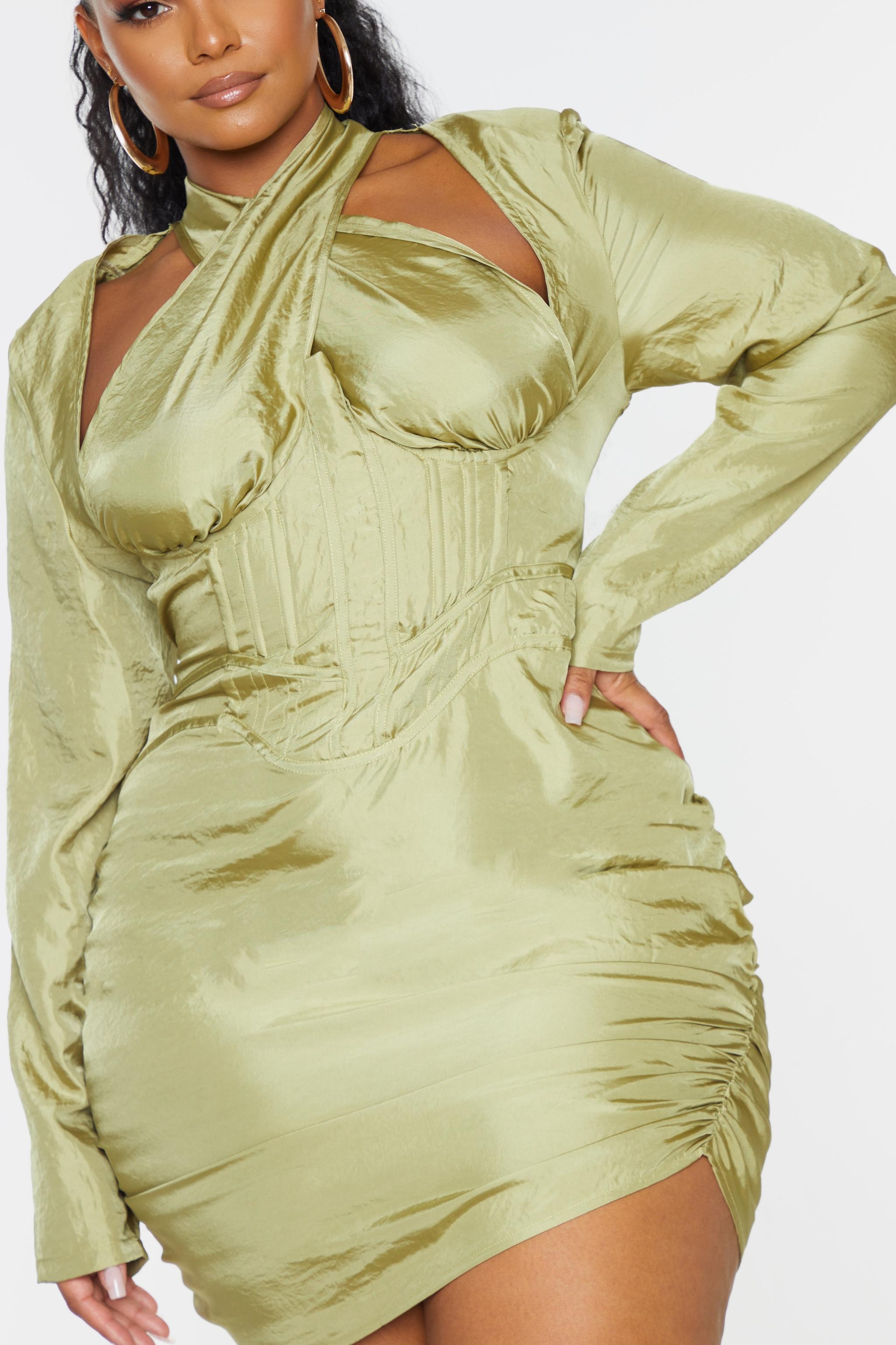 Plus Olive Cut Out Cross Front Corset Bodycon Dress 4