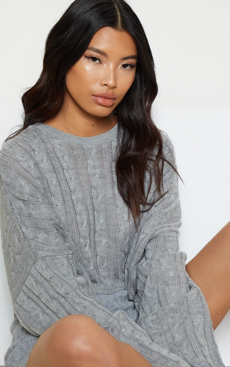 Grey Cable Cropped Knitted Jumper  5