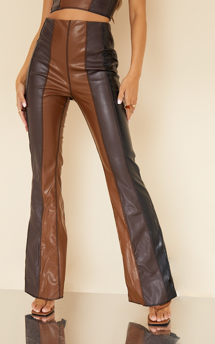 Chocolate Brown Faux Leather Panelled Skinny Flared Trousers 2