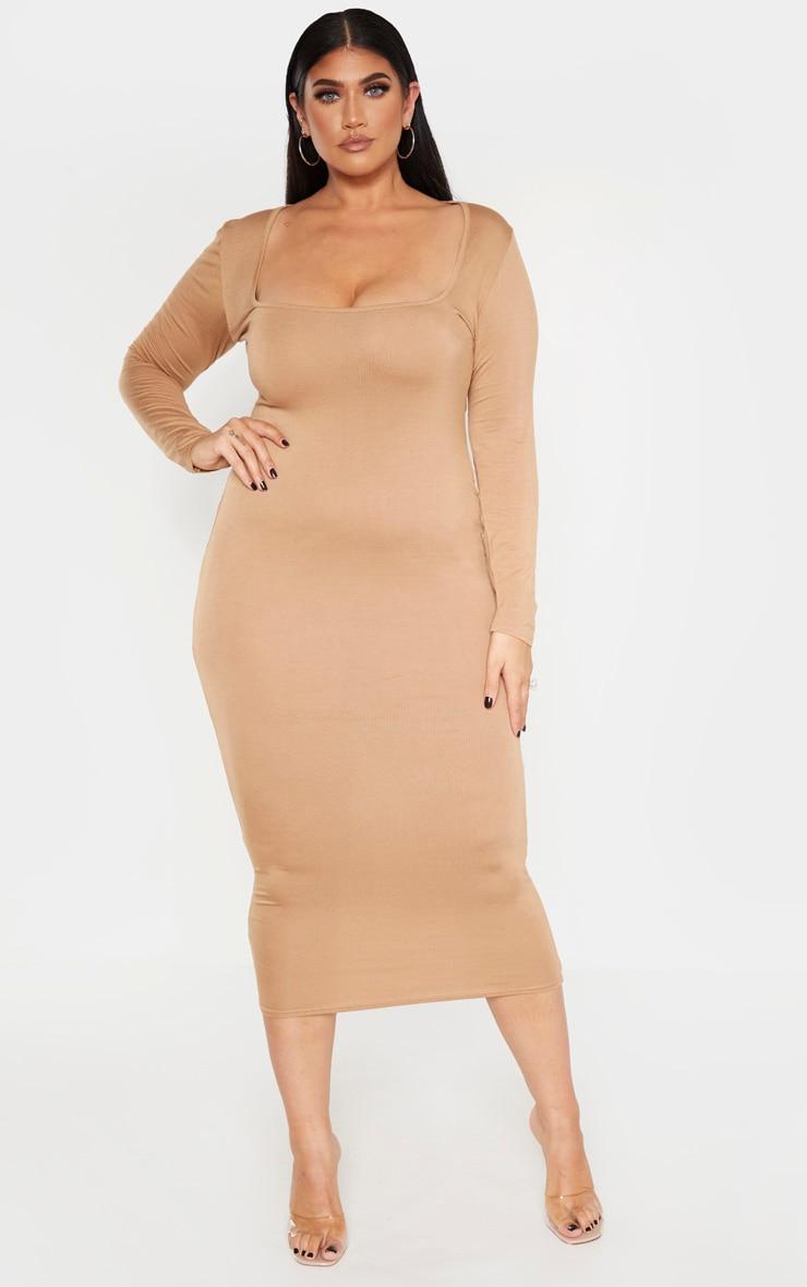 Plus Camel Jersey Long Sleeve Midi Dress 1