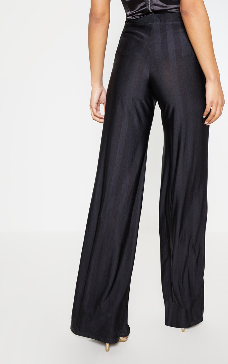 Black Disco Stripe Casual Wide Leg Trouser 4