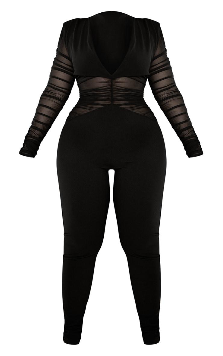 Plus Black Ruched Mesh Panel Plunge Jumpsuit 5